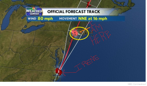 Projected Path of Irene (original pic from NBCConnecticut.com)